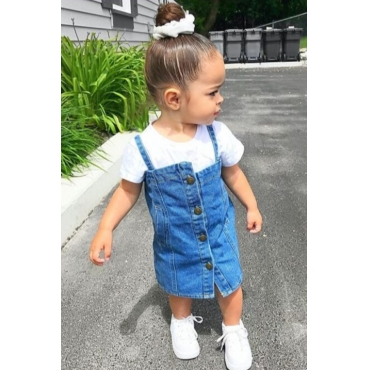 lovely Casual Buttons Design Baby Blue Girl Knee Length Dress