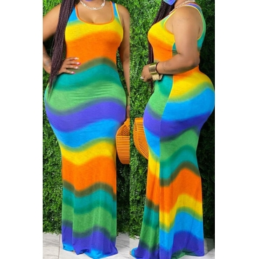 lovely Bohemian Rainbow Striped Green Maxi Plus Size Dress