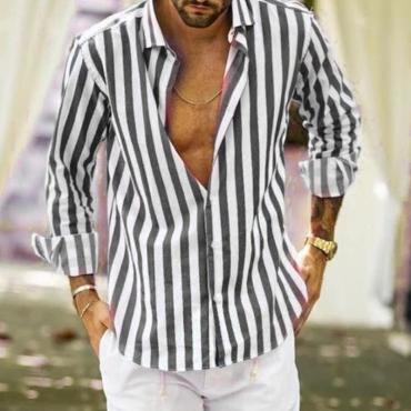 lovely Casual Turndown Collar Striped Grey Shirt