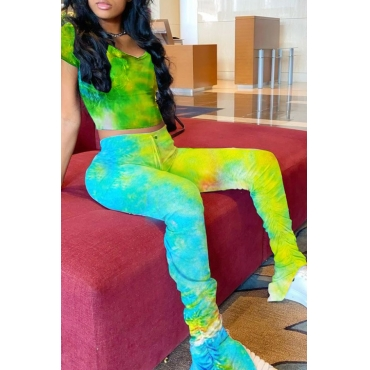 Lovely Casual Tie Dye Yellow Two Piece Pants Set