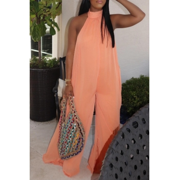 lovely Leisure Loose Orange One-piece Jumpsuit