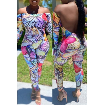 lovely Trendy Butterfly Print Backless Purple One-piece Jumpsuit