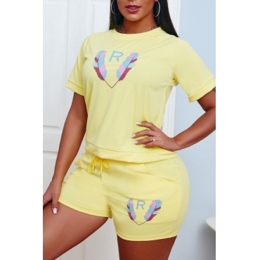 lovely Leisure O Neck Print Yellow Two-piece Shorts Set