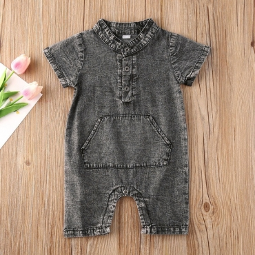 lovely Trendy Pocket Patched Grey Boy One-piece Jumpsuit