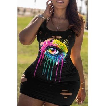 Lovely Street U Neck Eye Print Black Mini Plus Size Dress