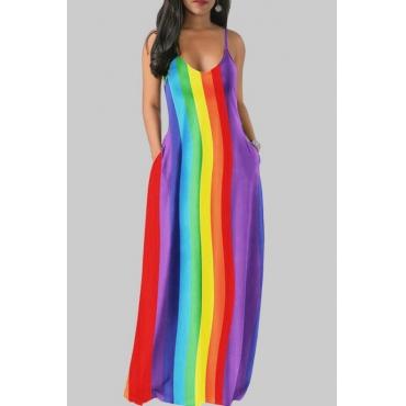 lovely Bohemian V Neck Striped Multicolor Maxi Dress