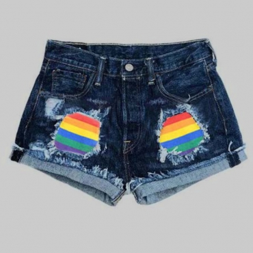 Lovely Trendy Patchwork Blue Denim Shorts