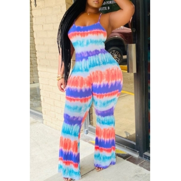 lovely Stylish Tie-dye Blue One-piece Jumpsuit