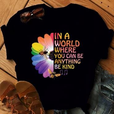 lovely Leisure O Neck Print Black T-shirt