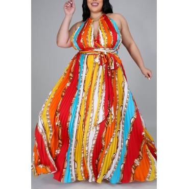lovely Bohemian Print Red Maxi Plus Size Dress