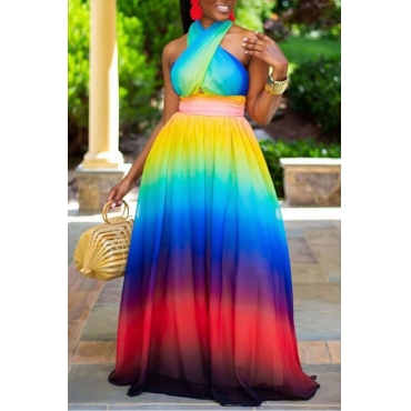 Lovely Bohemian Tie-dye Cross-over Design Multicolor Maxi Dress
