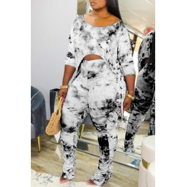 lovely Casual Tie-dye Fold Design Black Plus Size Two-piece Pants Set
