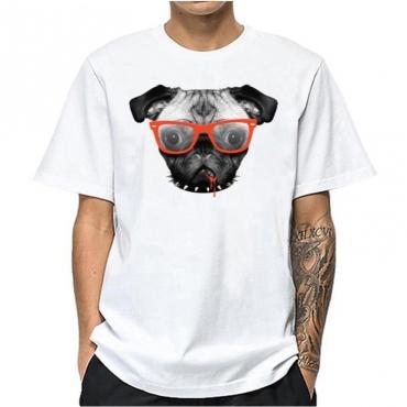 lovely Casual O Neck Print White Tshirt