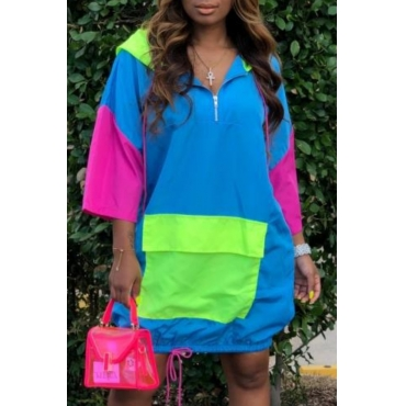 lovely Casual Hooded Collar Patchwork Blue Knee Length Dress