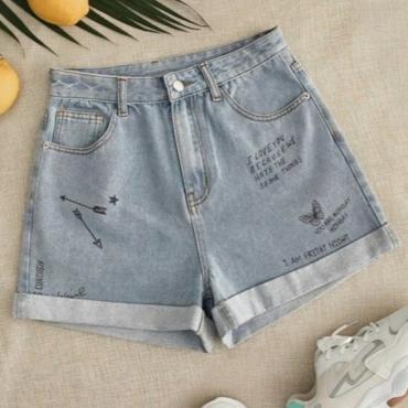 lovely Stylish Print Baby Blue Denim Shorts
