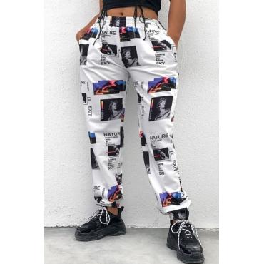 lovely Sportswear Print White Pants