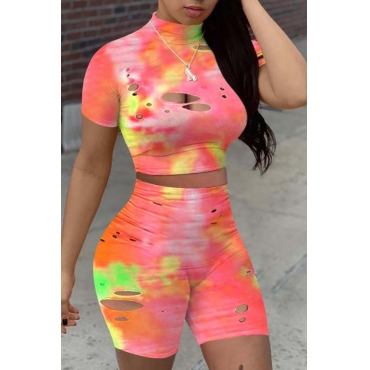 lovely Street Tie-dye Hollow-out Pink Two-piece Shorts Set