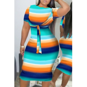 lovely Casual Striped Knot Design Blue Knee LengthDress