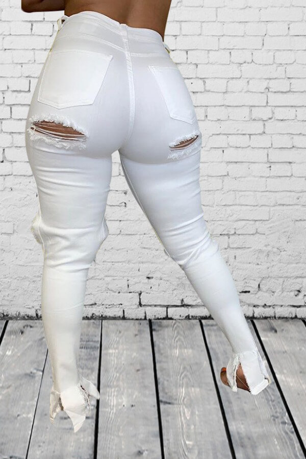 Lovely Street Hollow-out White Jeans