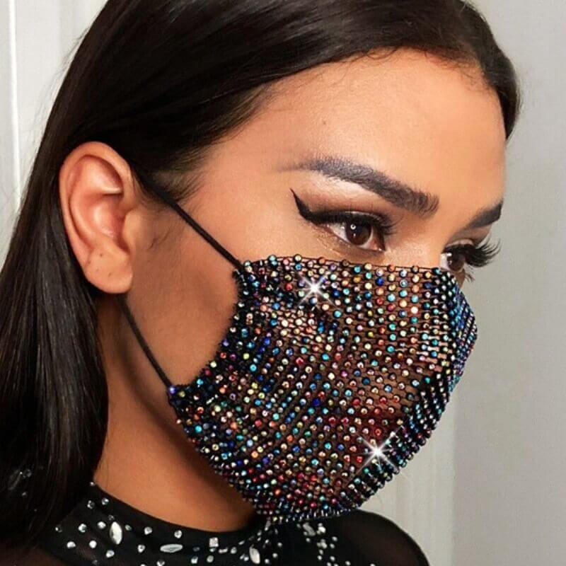 Lovely Stylish Rhinestone Multicolor Face Mask