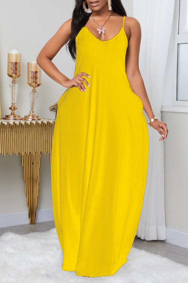 LW BASIC Plus Size Leisure Pocket Patched Yellow Maxi Dress