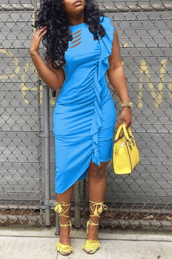 LW Leisure Fold Design Asymmetrical Blue Mid Calf Dress