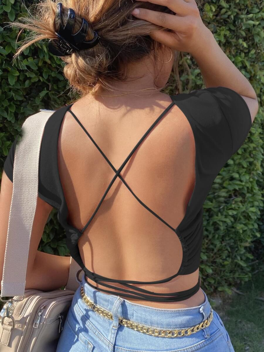 Lovely Sexy Backless Black T-shirt