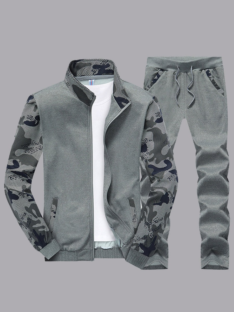Lovelywholesale coupon: LW Men Print Patchwork Light Grey Pants Set