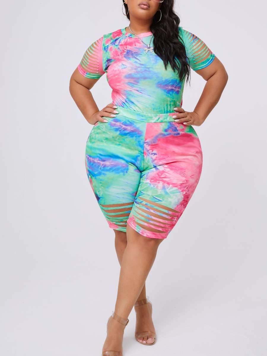 lovely Trendy Tie-dye Hollow-out Green Plus Size T