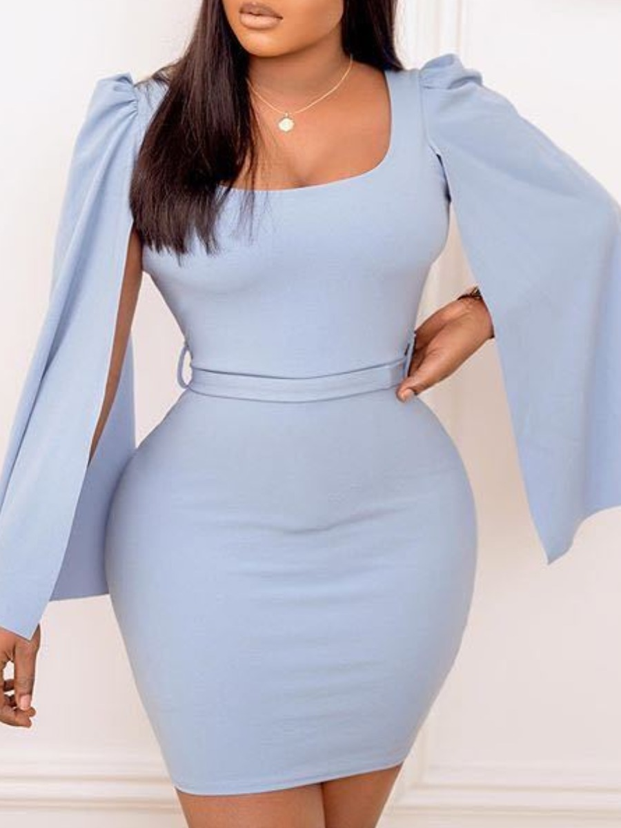 Lovely Trendy U Neck Patchwork Blue Mini Dress фото