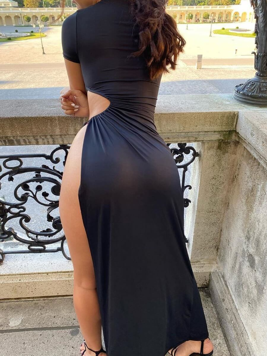 LW Sexy Lace-up Side High SlitBlack Maxi Dress