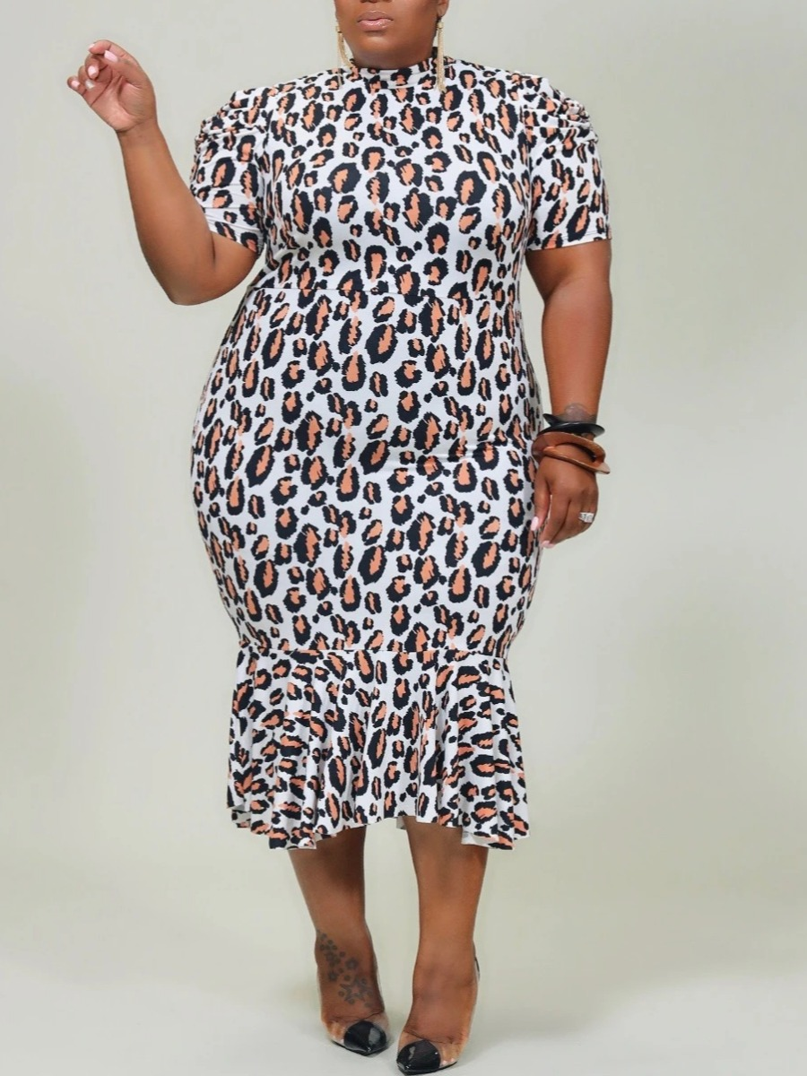 Lovely Trendy Print Flounce Design Black Mid Calf Plus Size Dress фото