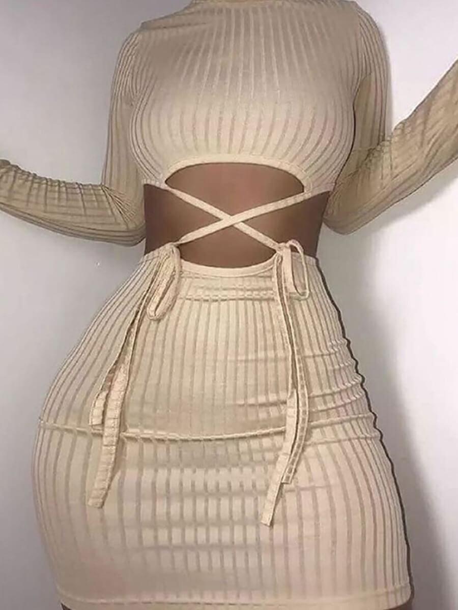 Lovely Sexy O Neck Cross-over Bandage Design Apricot Mini Dress фото