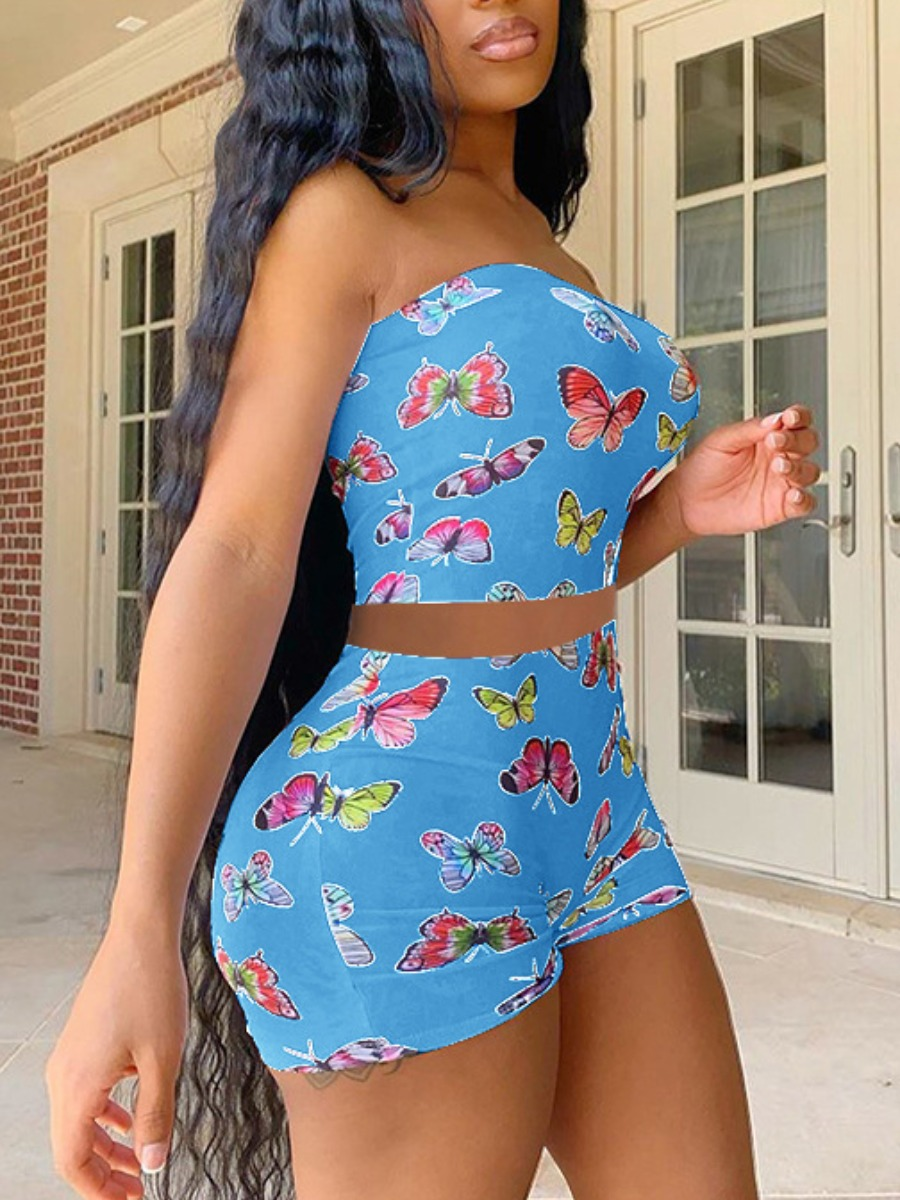Two-piece Shorts Set lovely Stylish Butterfly Print Baby Blue Two Piece Shorts Set фото