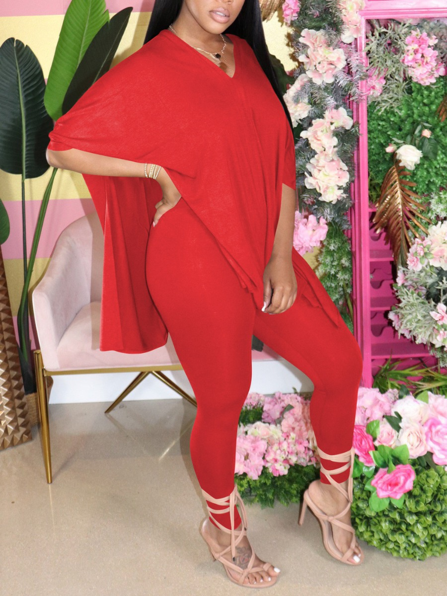 Two-piece Pants Set lovely Casual V Neck Side Slit Red Two Piece Pants Set фото