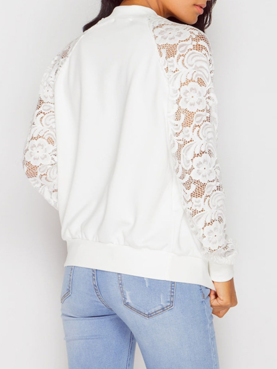 lovely Sportswear Lace Patchwork White Coat
