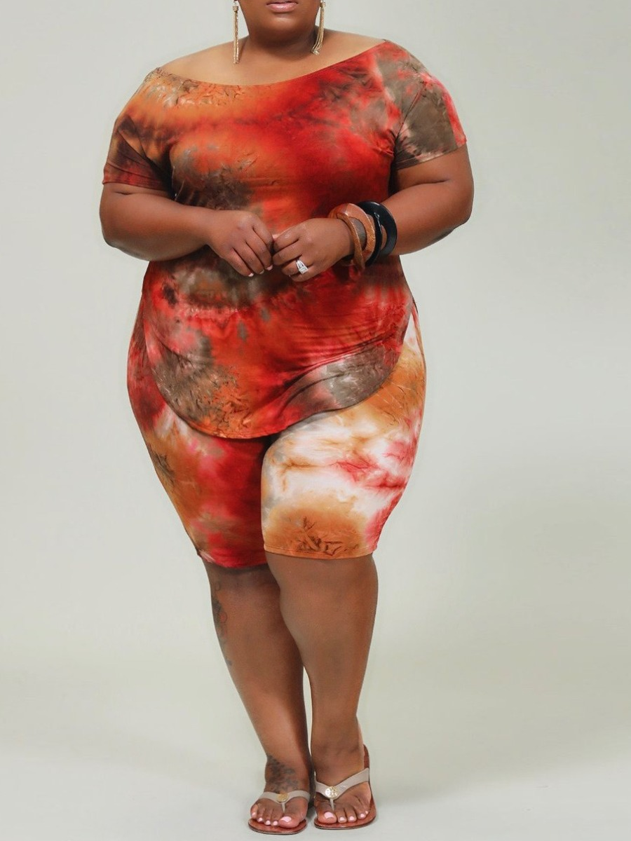 Lovely Leisure O Neck Tie-dye Jacinth Plus Size Two-piece Shorts Set фото