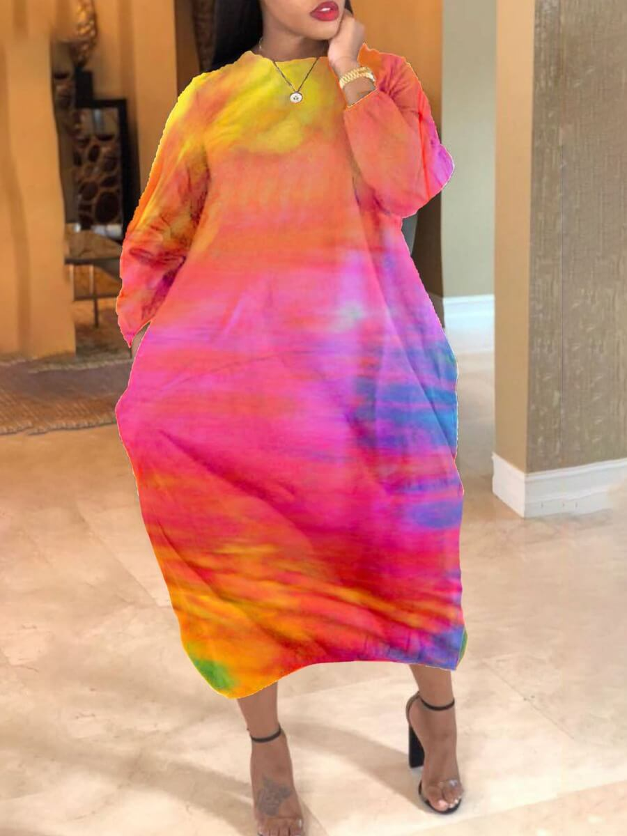 Lovely Trendy O Neck Tie-dye Pink Ankle Length Plus Size Dress фото