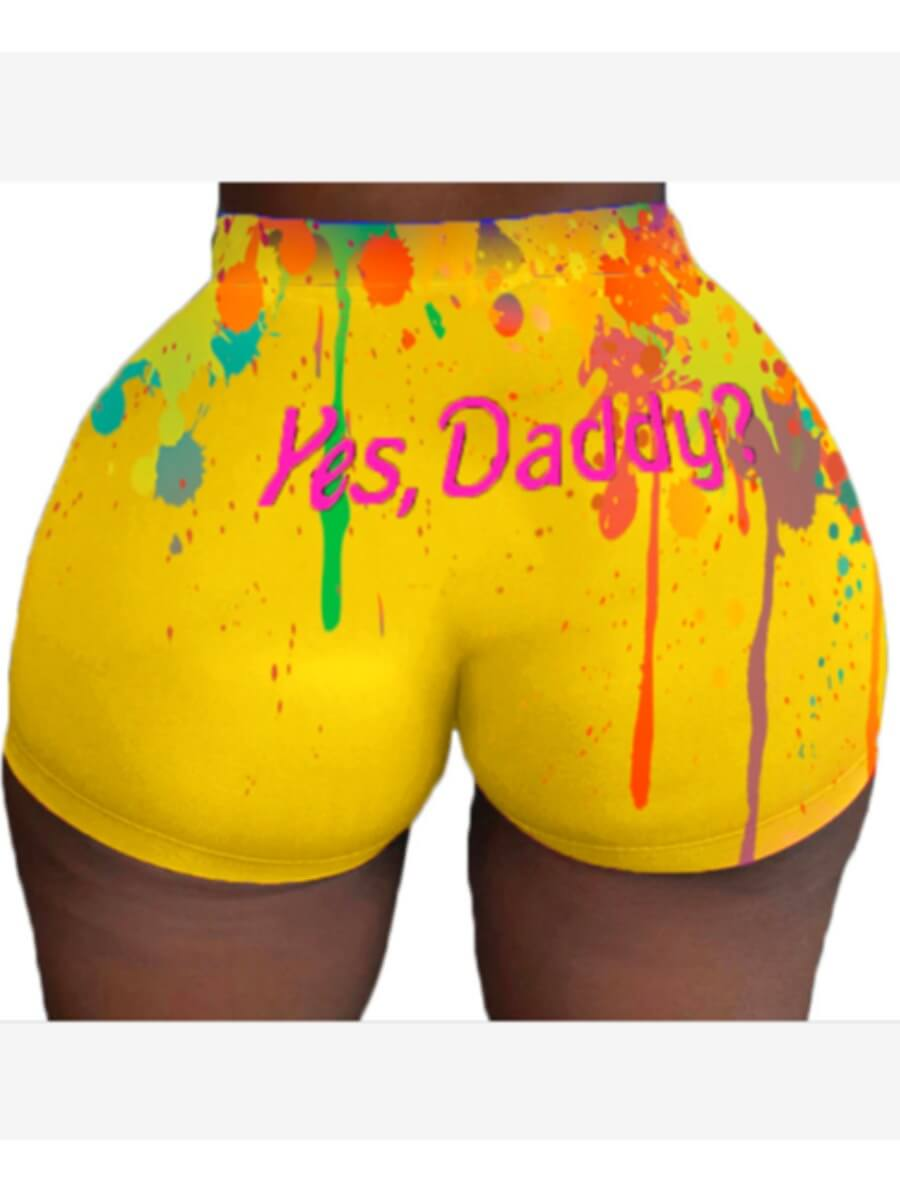 Lovely Casual Letter Print Yellow Shorts фото