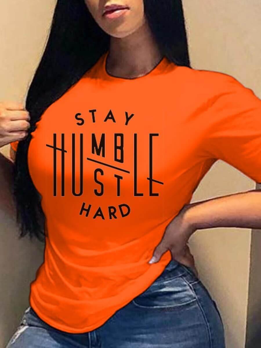 Lovely Leisure O Neck Letter Print Orange T-shirt
