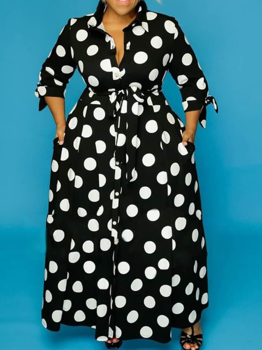 Lovely Trendy Dot Print Black Maxi Plus Size Dress фото