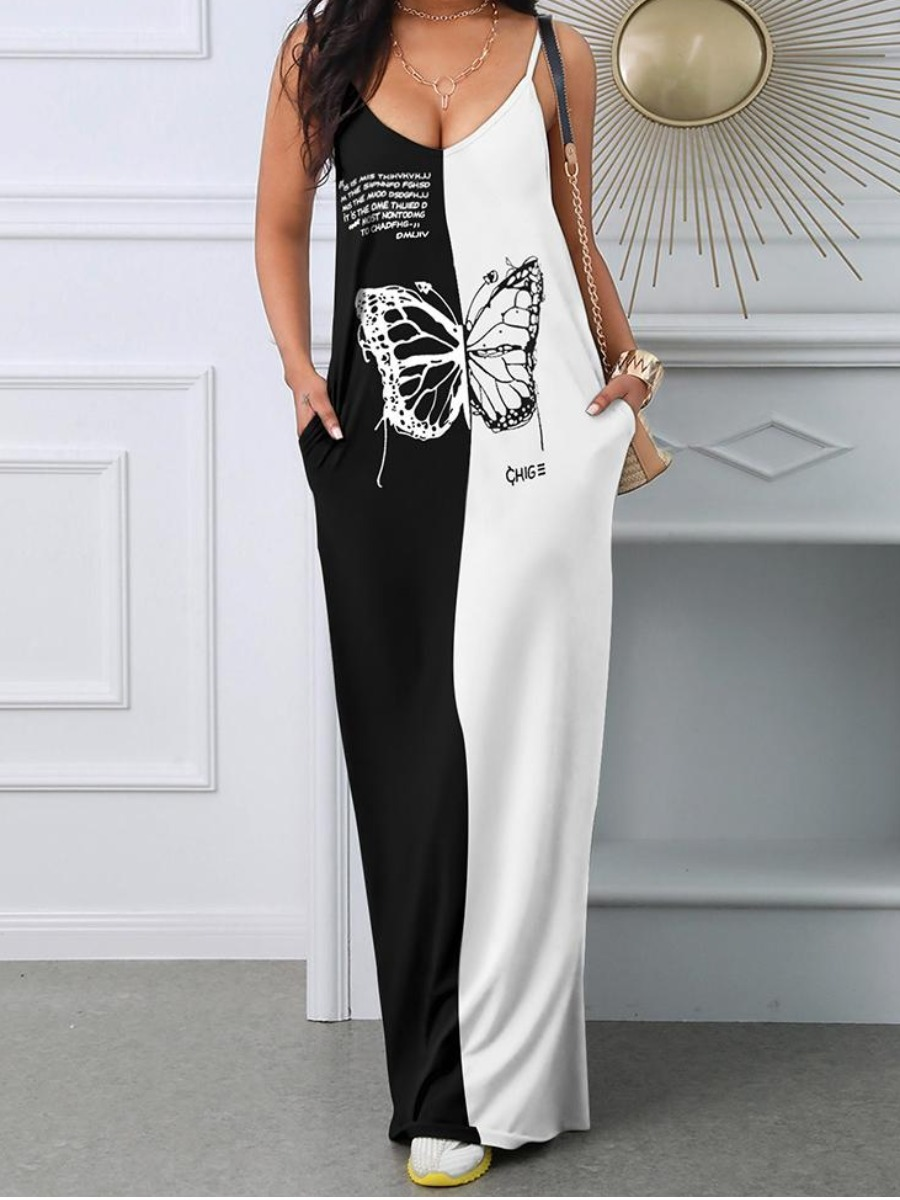 Lovely Casual Spaghetti Strap Butterfly Patchwork Black And White Ankle Length Dress фото