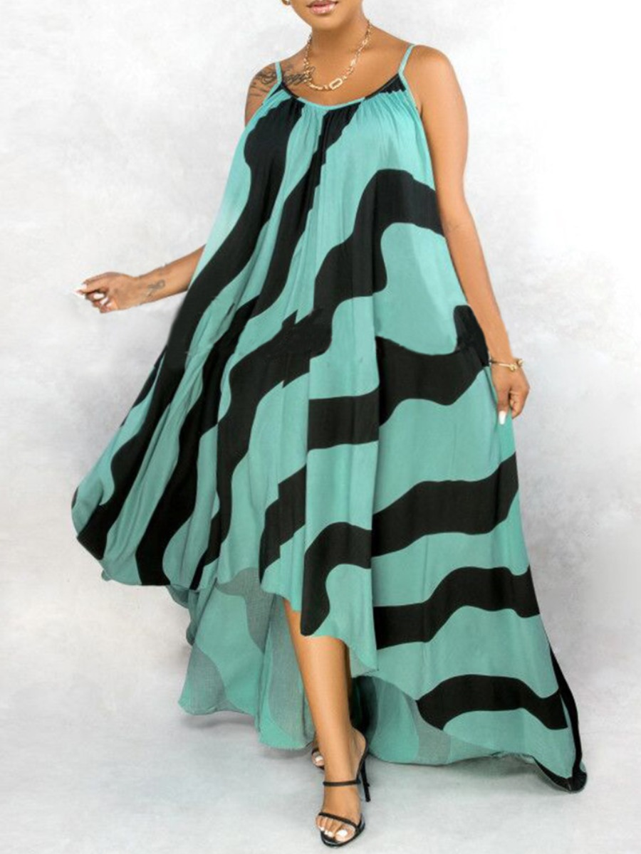 Lovely Stylish Spaghetti Strap Striped Asymmetrical Green Maxi Plus Size Dress фото