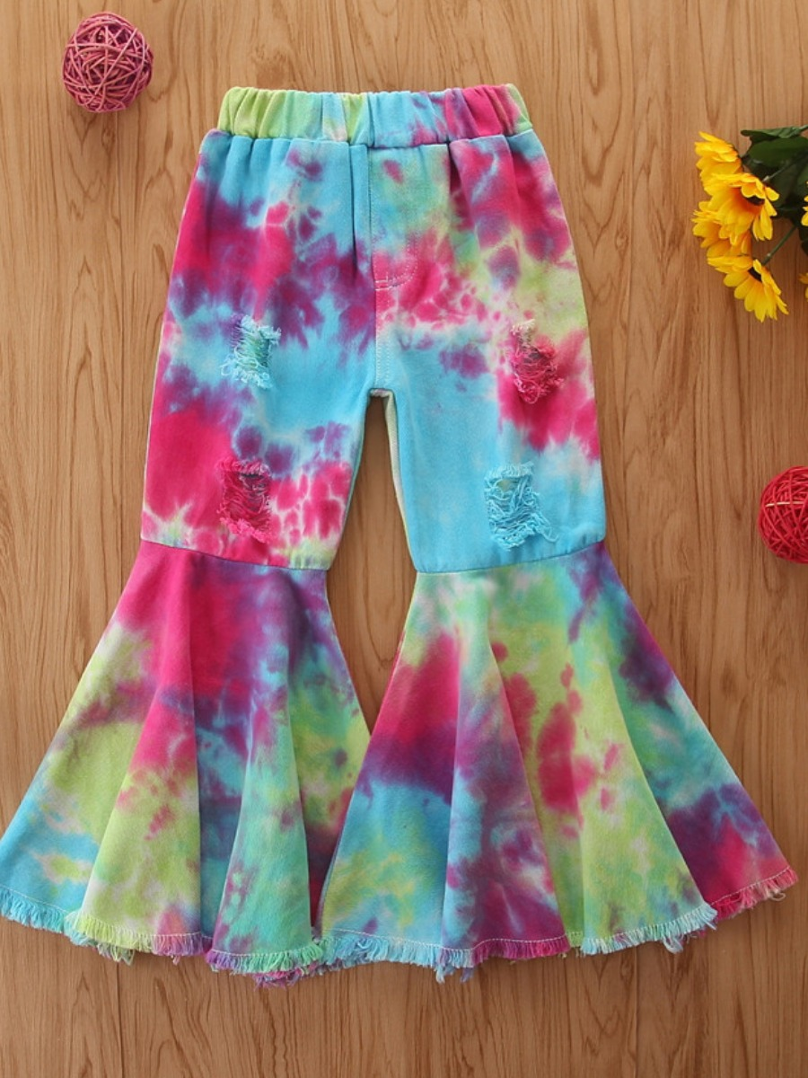 Girls Pants lovely Trendy Tie-dye Multicolor Girl Pants фото