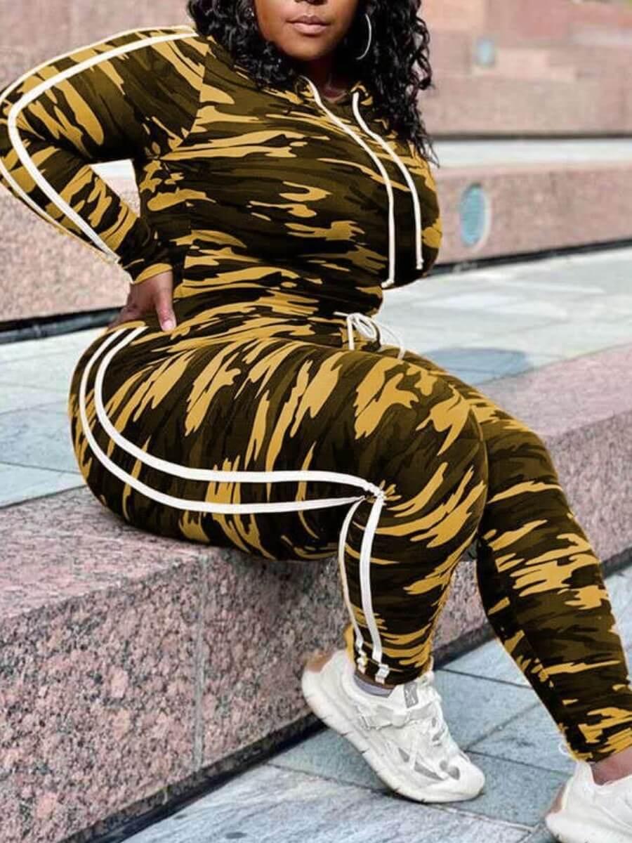 Lovely Sportswear Patchwork Camo Print Yellow Plus Size Two-piece Pants Set фото
