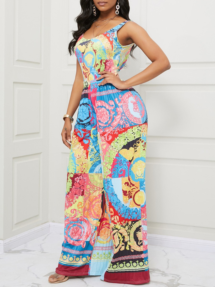 Lovely Bohemian Print Green One-piece Jumpsuit фото