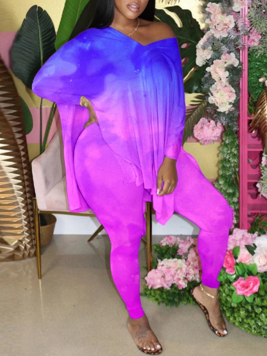 Lovely Street V Neck Tie-dye Side Slit Purple Plus Size Two-piece Pants Set фото