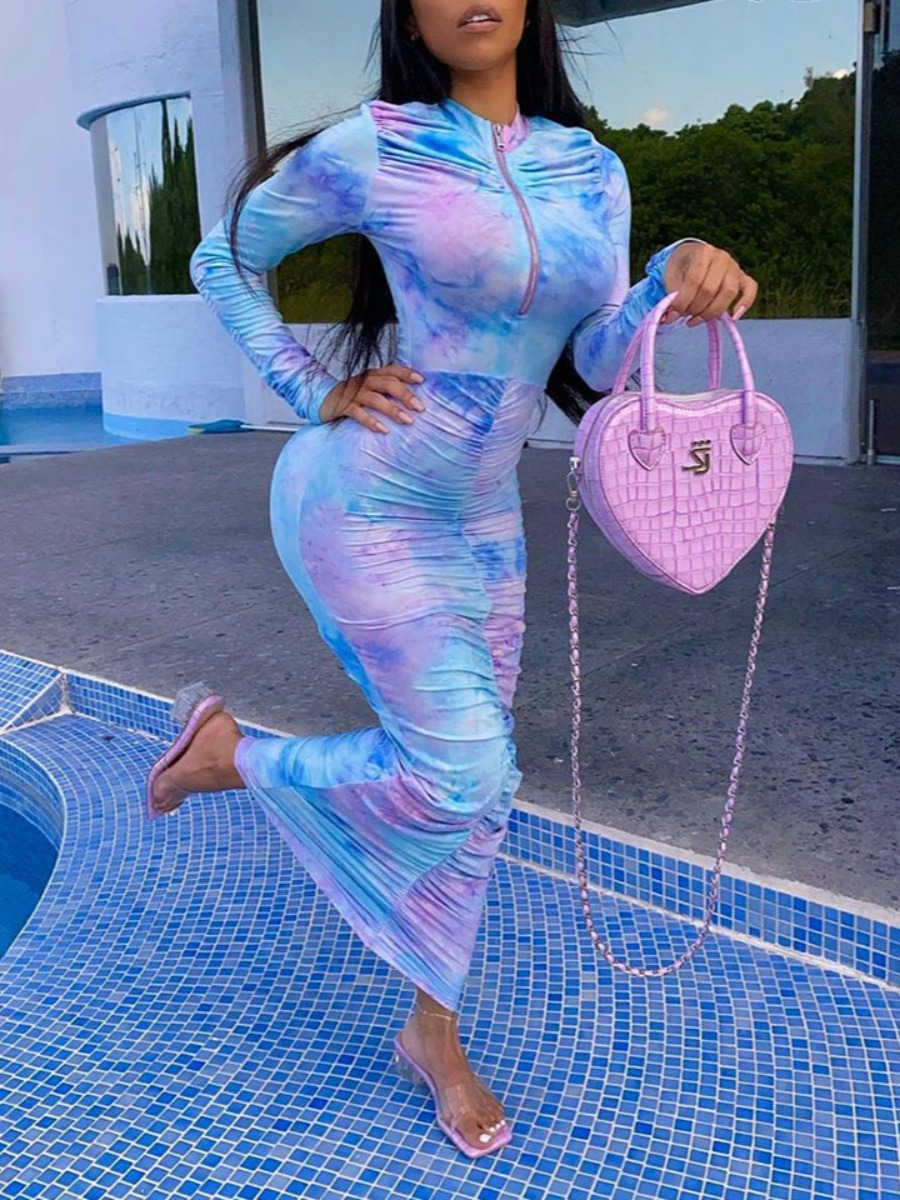 lovely Trendy O Neck Tie-dye Fold Design Blue Ankle Length Dress