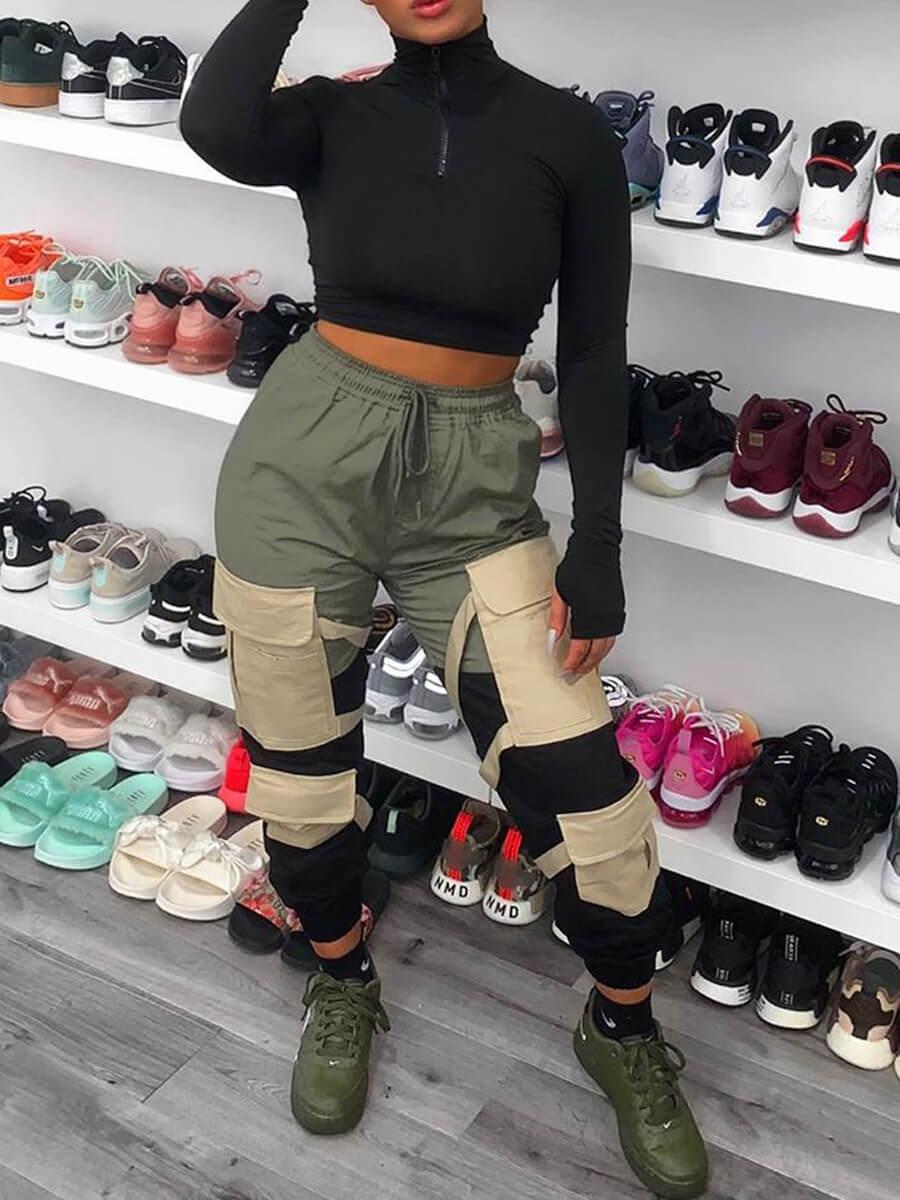 Lovely Sportswear Pocket Patched Army GreenPants
