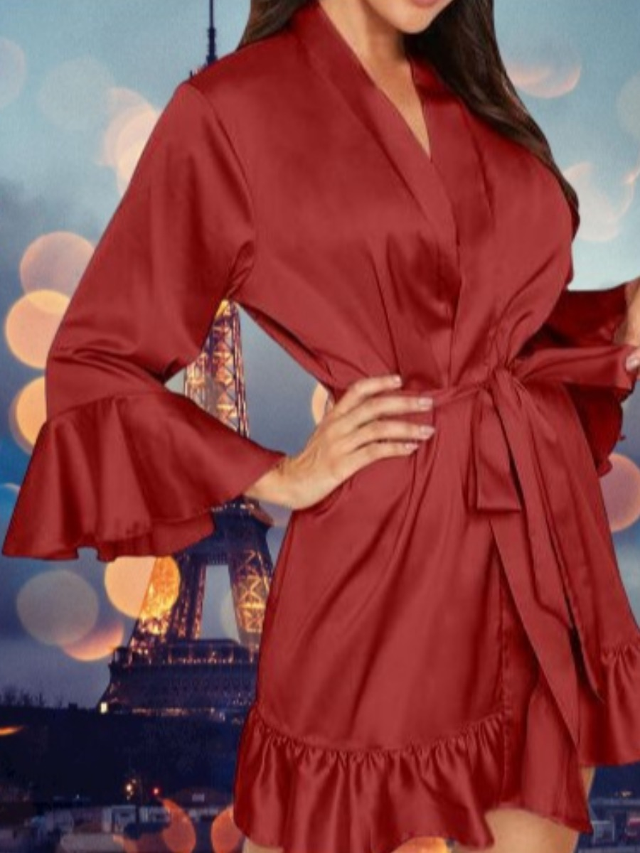 Lovely Cosy Flounce Design Wine Red Sleepwear фото